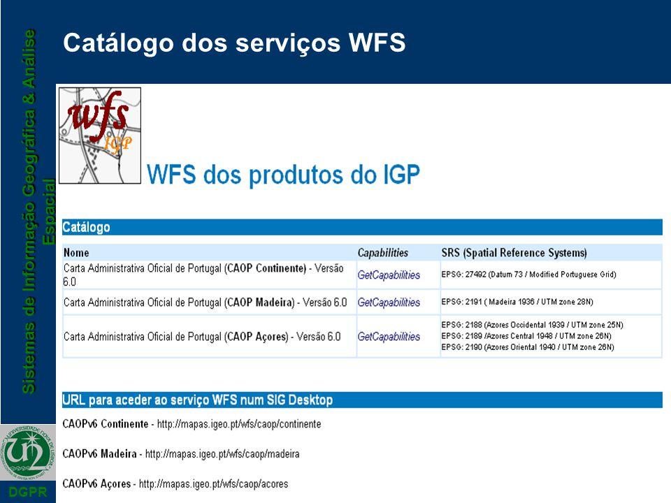 Sistemas de Informação Geográfica & Análise Espacial DGPR Catálogo dos serviços WFS