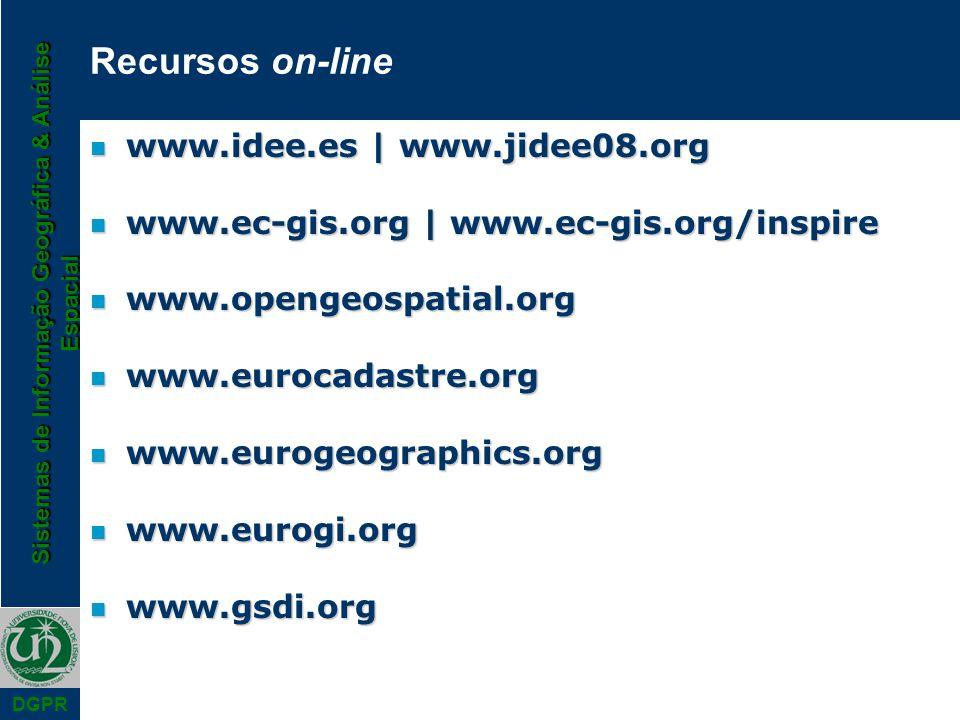 Sistemas de Informação Geográfica & Análise Espacial DGPR Recursos on-line n www.idee.es | www.jidee08.org n www.ec-gis.org | www.ec-gis.org/inspire n