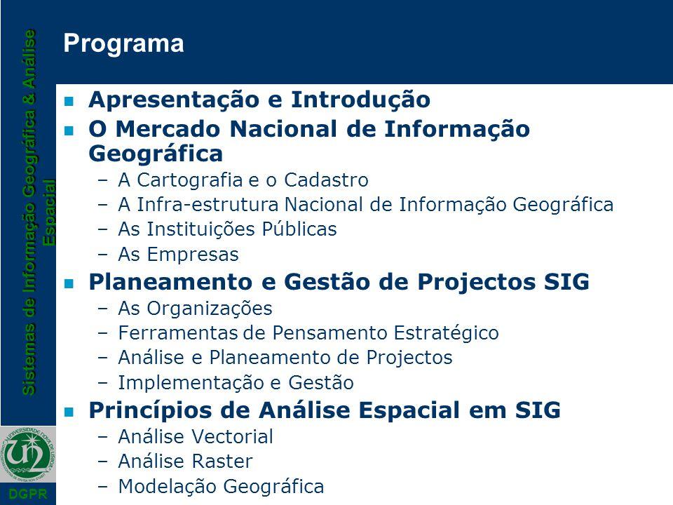 Sistemas de Informação Geográfica & Análise Espacial DGPR Programa n Apresentação e Introdução n O Mercado Nacional de Informação Geográfica –A Cartog
