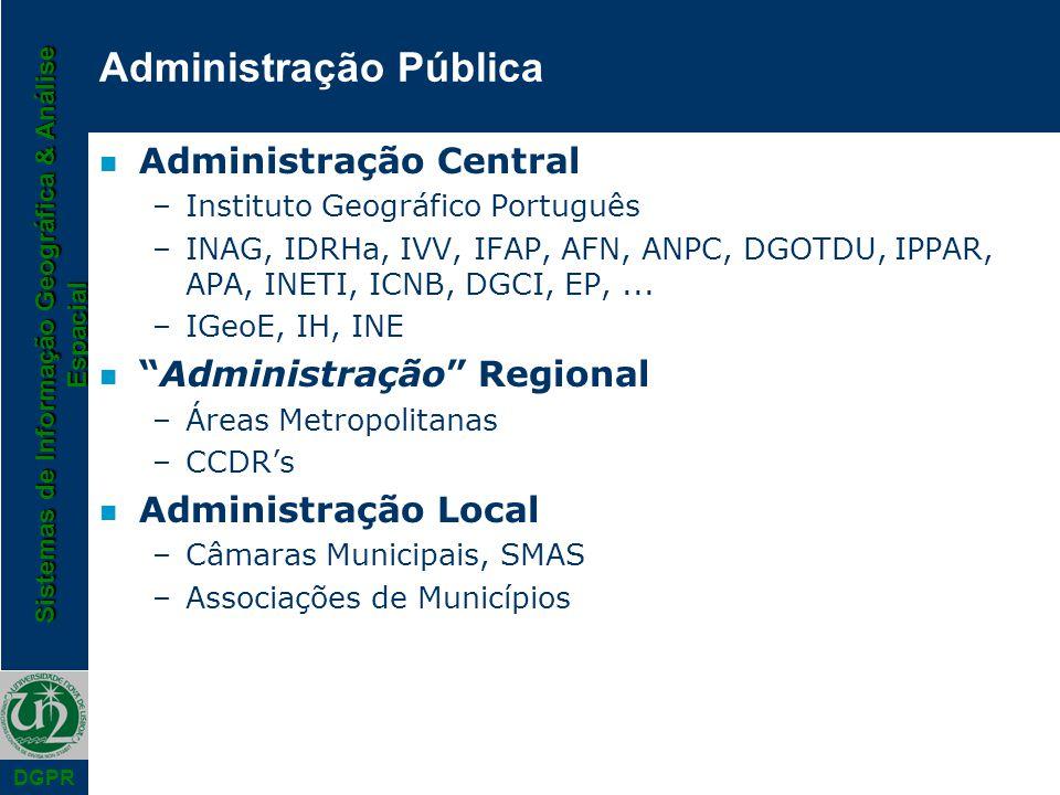 Sistemas de Informação Geográfica & Análise Espacial DGPR Administração Pública n Administração Central –Instituto Geográfico Português –INAG, IDRHa,