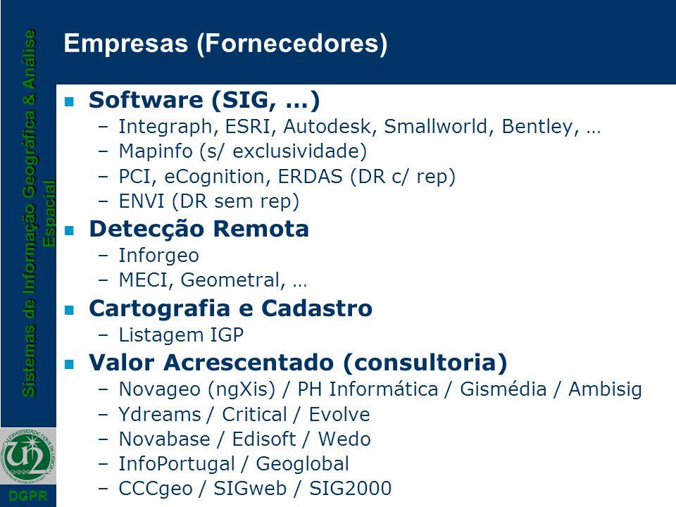 Sistemas de Informação Geográfica & Análise Espacial DGPR Empresas (Fornecedores) n Software (SIG, …) –Integraph, ESRI, Autodesk, Smallworld, Bentley,