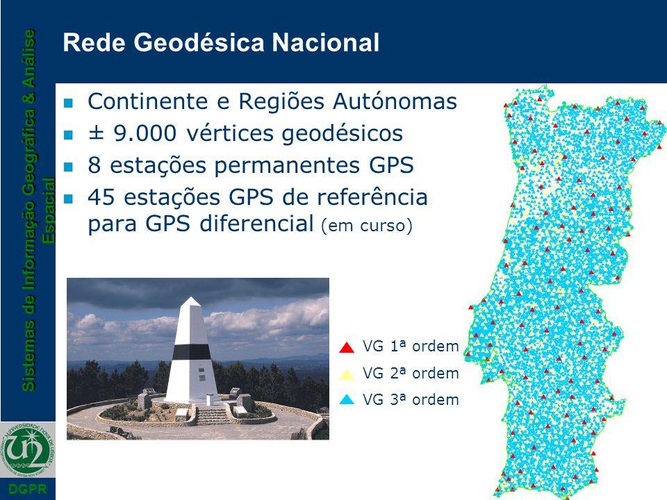 Sistemas de Informação Geográfica & Análise Espacial DGPR Rede Geodésica Nacional n Continente e Regiões Autónomas n ± 9.000 vértices geodésicos n 8 e