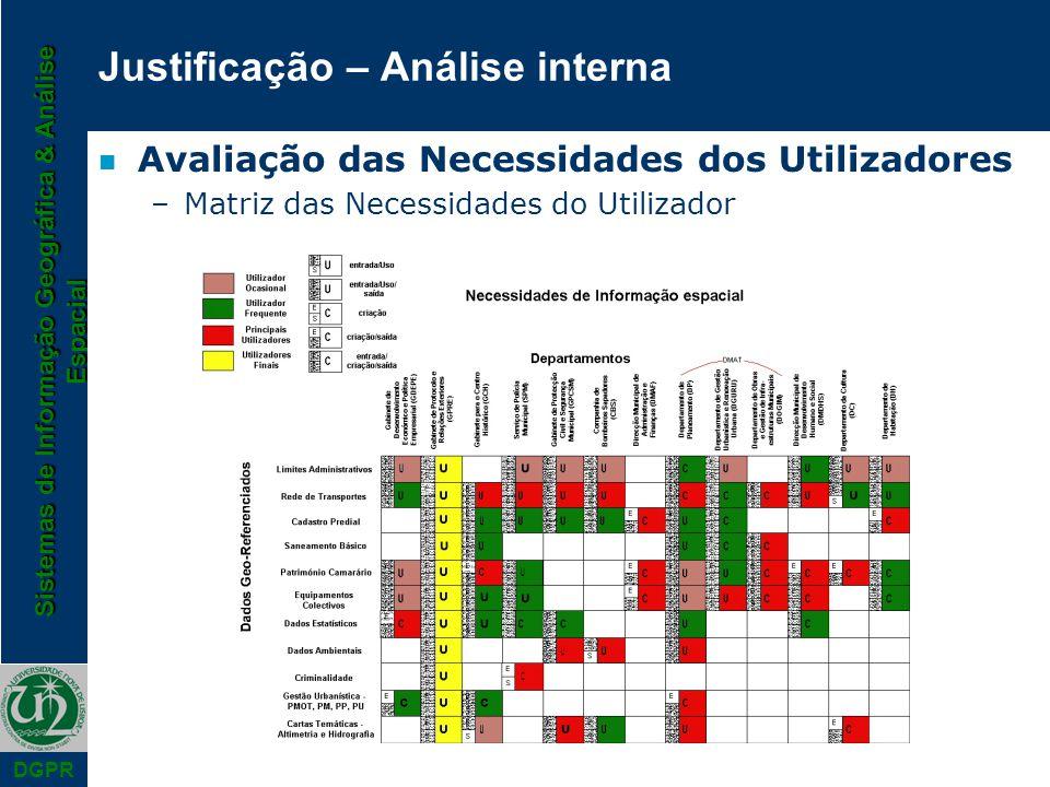Sistemas de Informação Geográfica & Análise Espacial DGPR Justificação – Análise interna n Avaliação das Necessidades dos Utilizadores –Matriz das Necessidades do Utilizador