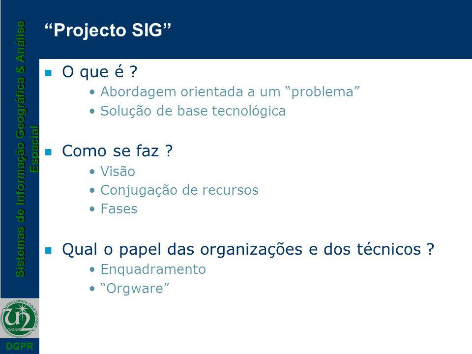 Sistemas de Informação Geográfica & Análise Espacial DGPR Projecto SIG n O que é .