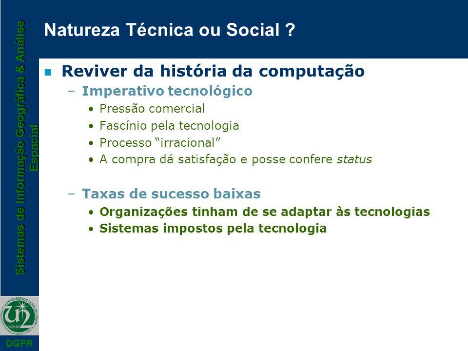 Sistemas de Informação Geográfica & Análise Espacial DGPR Natureza Técnica ou Social .