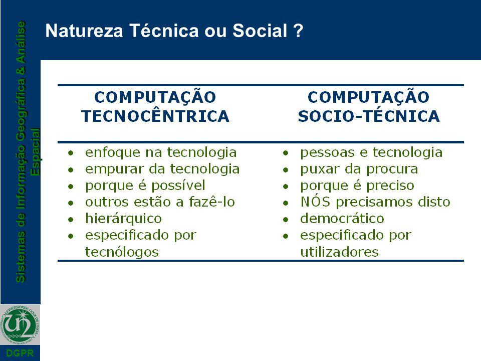 Sistemas de Informação Geográfica & Análise Espacial DGPR Natureza Técnica ou Social ?