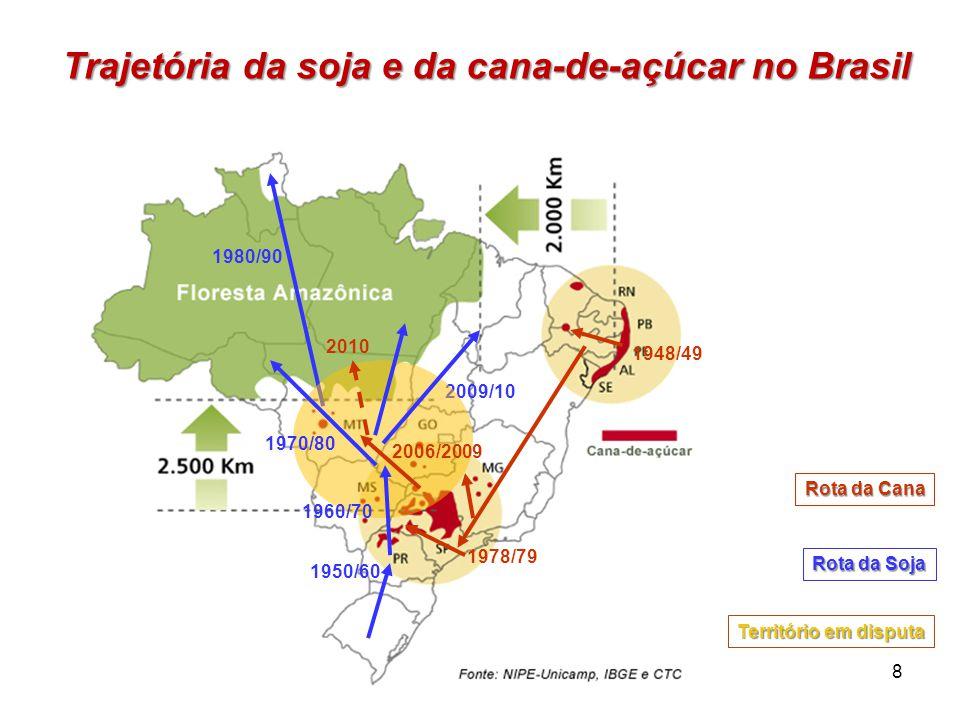 1948/49 1978/79 Rota da Cana Rota da Soja 1950/60 1980/90 2009/10 Trajetória da soja e da cana-de-açúcar no Brasil 8 Território em disputa 2006/2009 2
