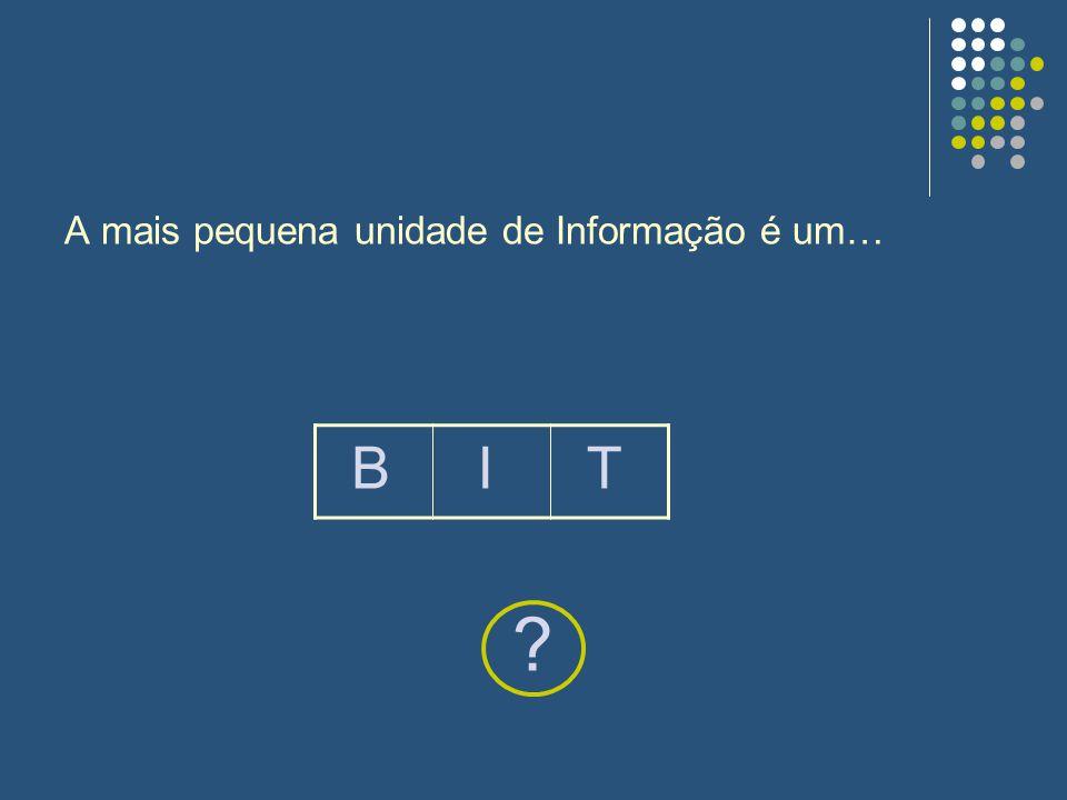 A mais pequena unidade de Informação é um… ? BIT