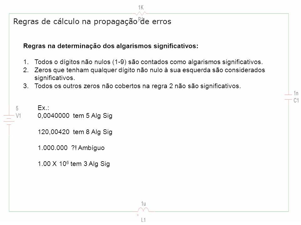Regras na determinação dos algarismos significativos: 1.Todos o dígitos não nulos (1-9) são contados como algarismos significativos. 2.Zeros que tenha