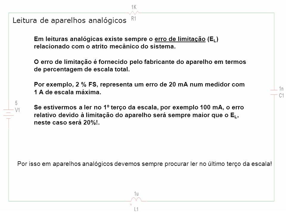 Em leituras analógicas existe sempre o erro de limitação (E L ) relacionado com o atrito mecânico do sistema. O erro de limitação é fornecido pelo fab