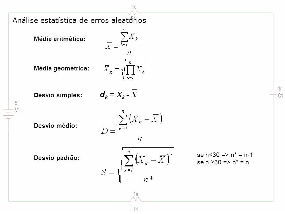 Análise estatística de erros aleatórios Média aritmética: Média geométrica: Desvio simples: d k = X k - X Desvio médio: Desvio padrão: se n n* = n-1 s