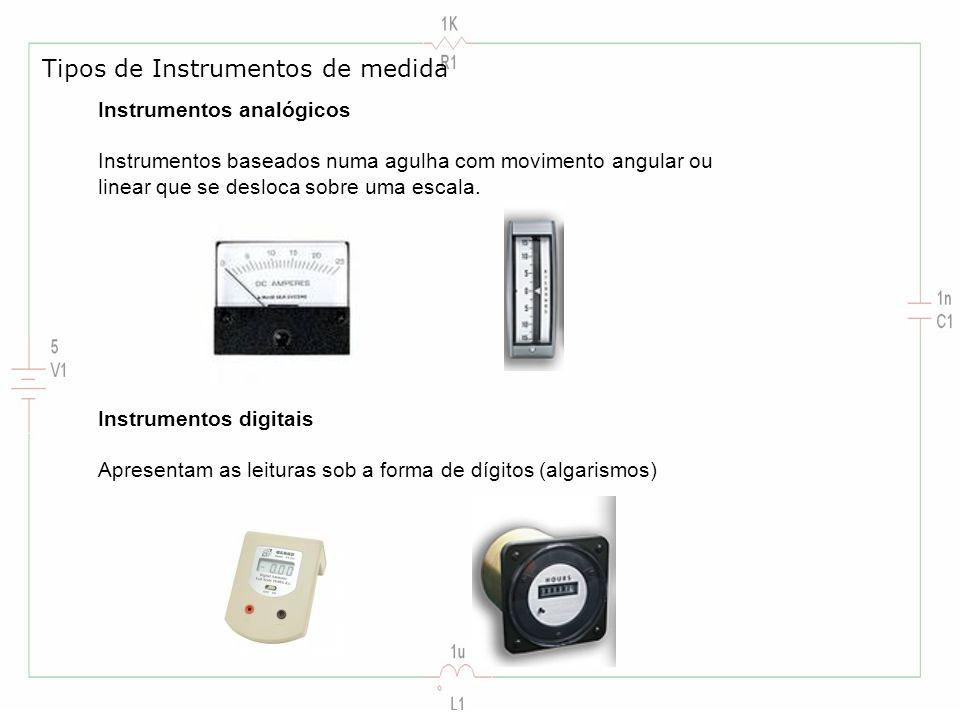 Instrumentos analógicos Instrumentos baseados numa agulha com movimento angular ou linear que se desloca sobre uma escala. Tipos de Instrumentos de me