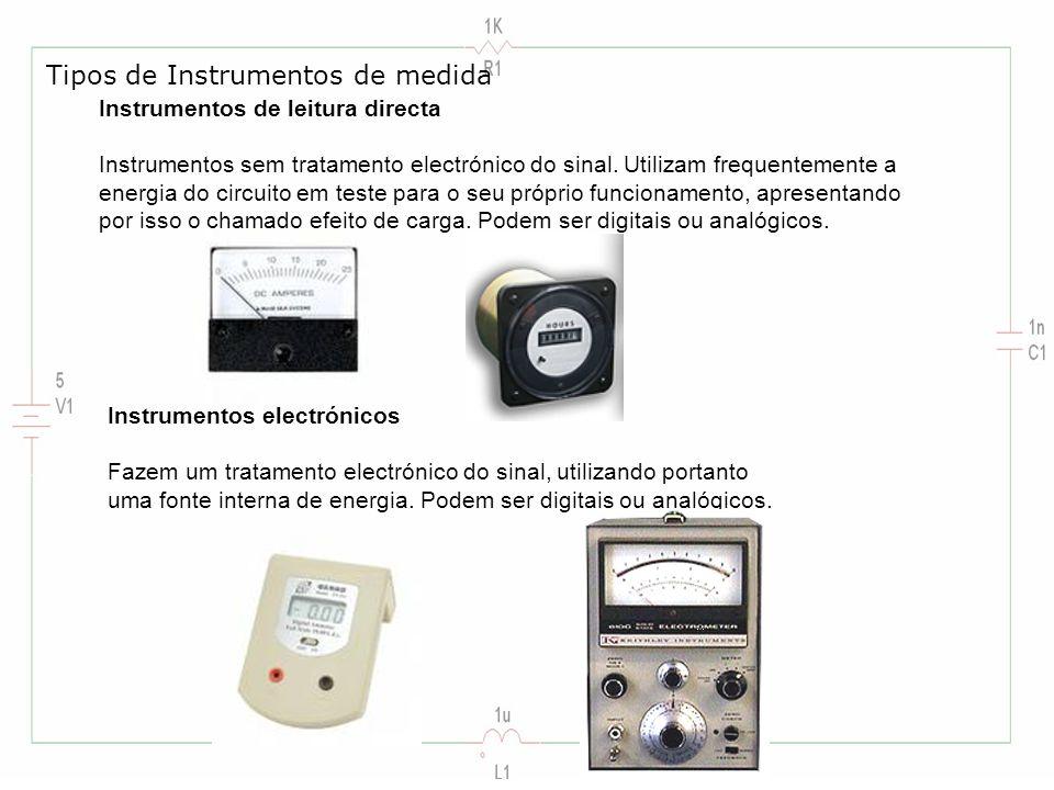 Instrumentos de leitura directa Instrumentos sem tratamento electrónico do sinal. Utilizam frequentemente a energia do circuito em teste para o seu pr