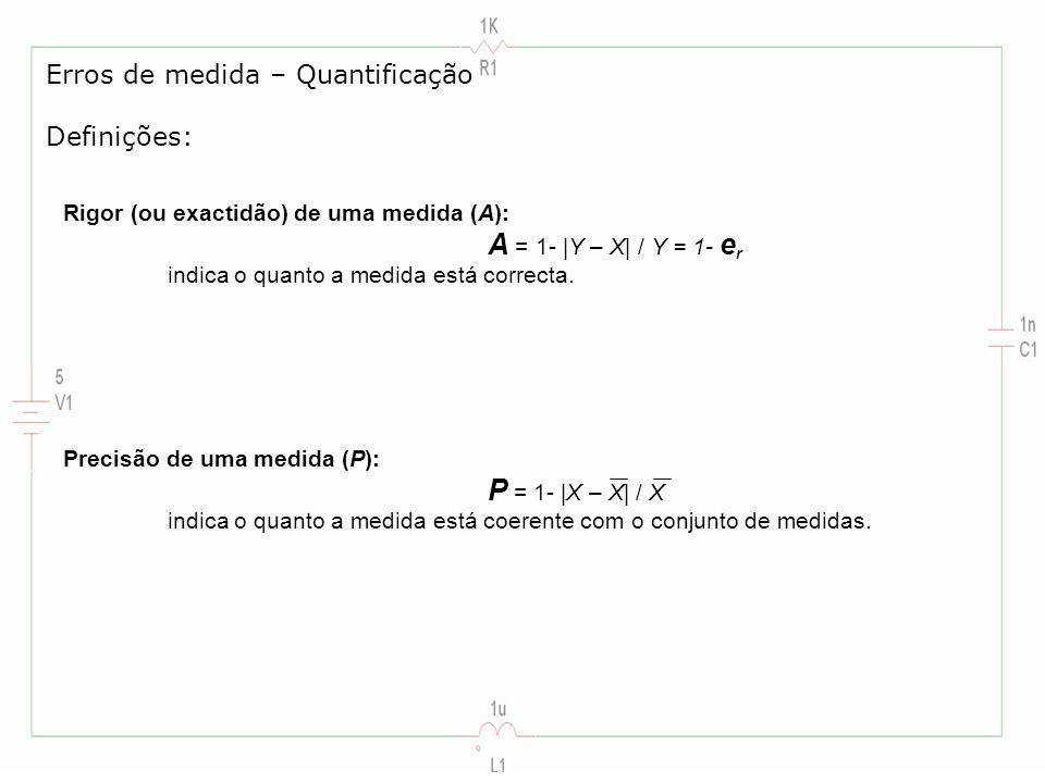 Rigor (ou exactidão) de uma medida (A): A = 1- |Y – X| / Y = 1- e r indica o quanto a medida está correcta. Erros de medida – Quantificação Definições