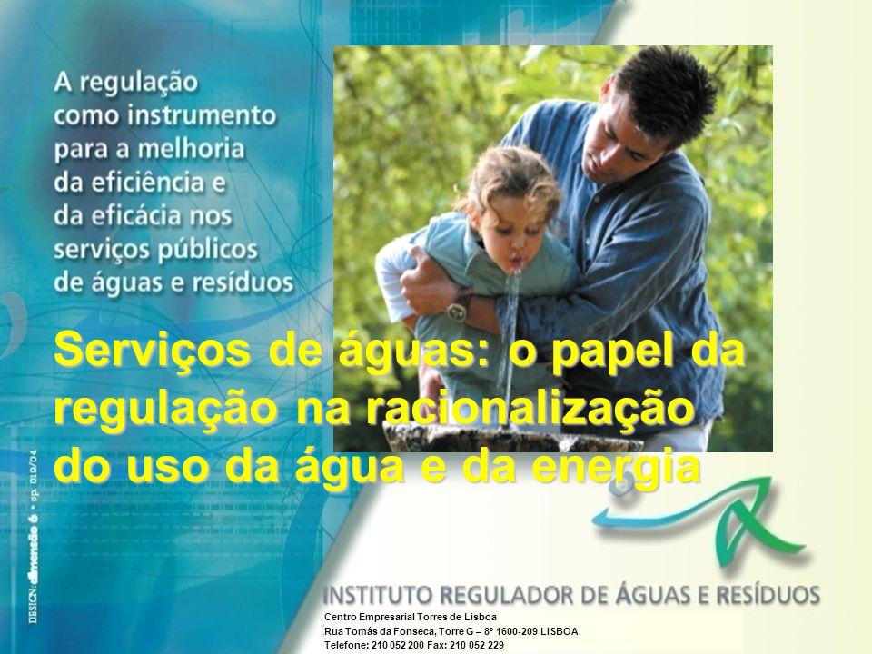 INSTITUTO REGULADOR DE ÁGUAS E RESÍDUOS A regulação como instrumento para a melhoria da eficiência e da eficácia nos serviços públicos de águas e resí