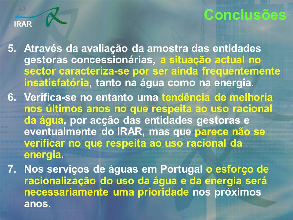 IRAR Conclusões 5.Através da avaliação da amostra das entidades gestoras concessionárias, a situação actual no sector caracteriza-se por ser ainda fre