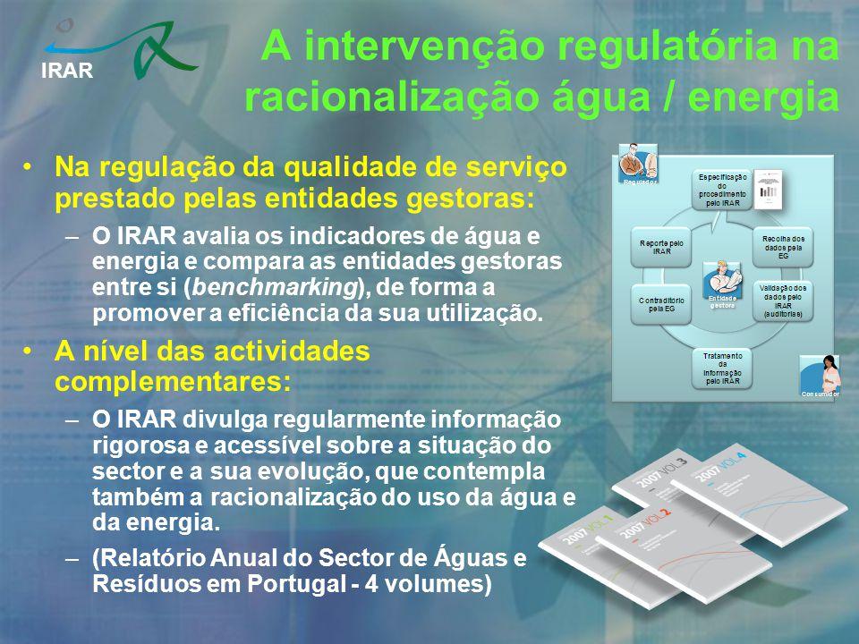 IRAR Na regulação da qualidade de serviço prestado pelas entidades gestoras: –O IRAR avalia os indicadores de água e energia e compara as entidades ge