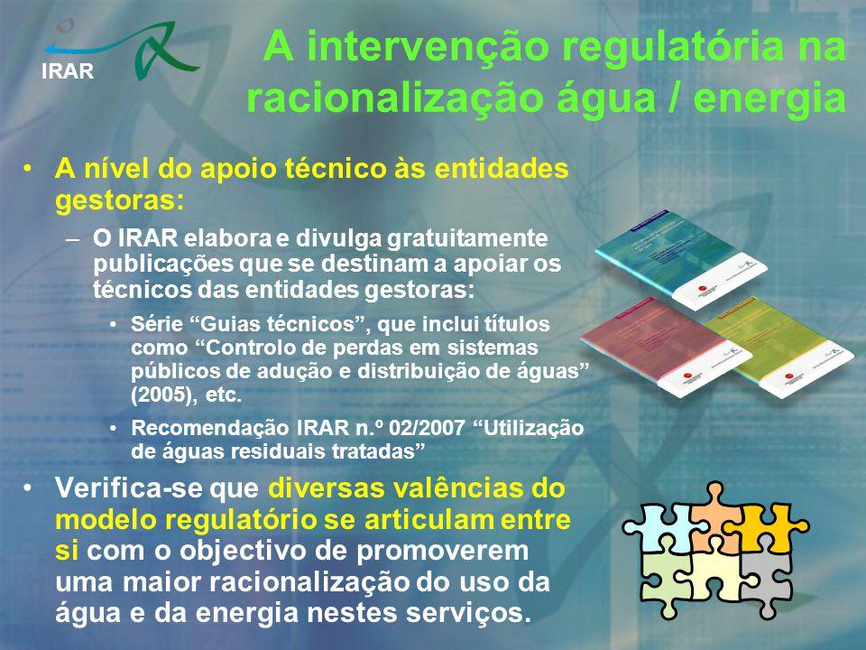 IRAR Indicadores utilizados na avaliação e no benchmarking para racionalização do uso da água: –O IRAR tem vindo utilizar os indicadores: AA18b Ineficiência da utilização de recursos hídricos no abastecimento.