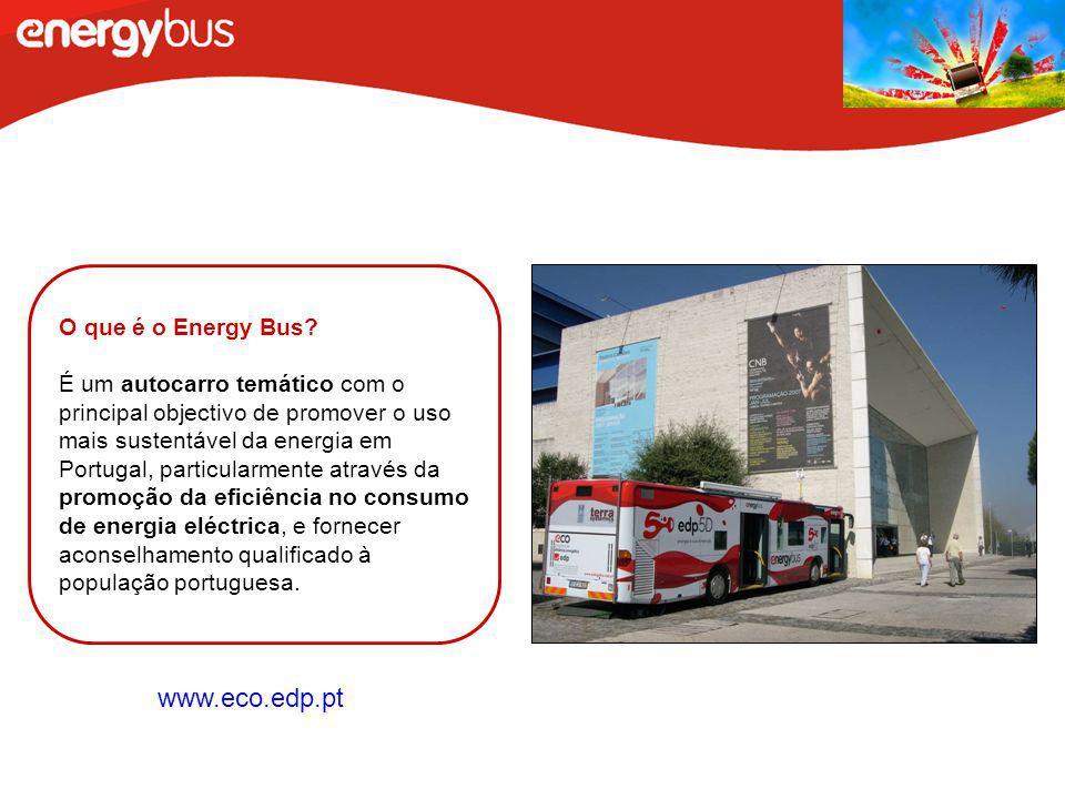 O que é o Energy Bus? É um autocarro temático com o principal objectivo de promover o uso mais sustentável da energia em Portugal, particularmente atr