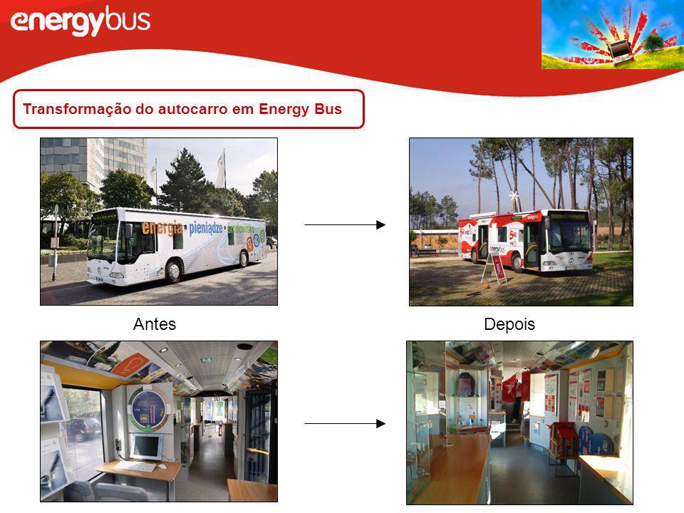 Transformação do autocarro em Energy Bus AntesDepois