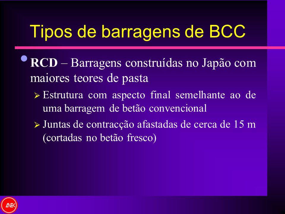 Tipos de barragens de BCC RCD – Barragens construídas no Japão com maiores teores de pasta Estrutura com aspecto final semelhante ao de uma barragem d