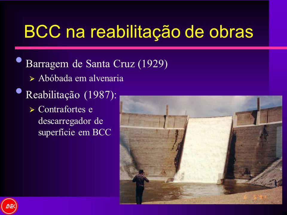 Barragem de Santa Cruz (1929) Abóbada em alvenaria Reabilitação (1987): Contrafortes e descarregador de superfície em BCC BCC na reabilitação de obras
