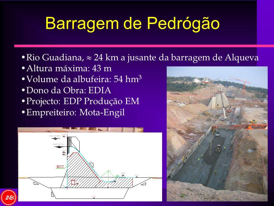 Barragem de Pedrógão Rio Guadiana, 24 km a jusante da barragem de Alqueva Altura máxima: 43 m Volume da albufeira: 54 hm 3 Dono da Obra: EDIA Projecto
