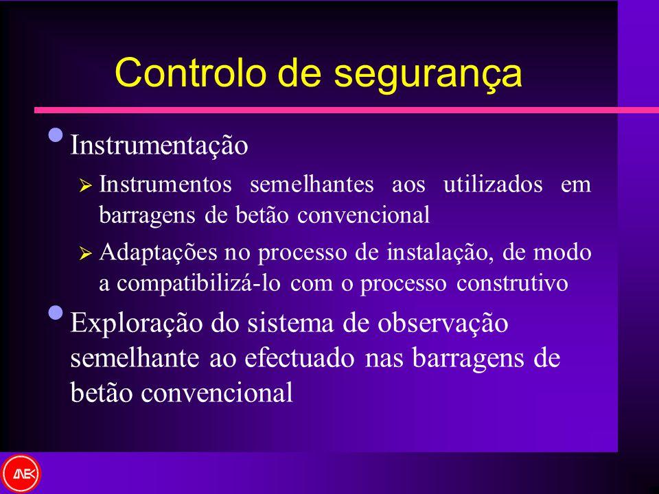 Controlo de segurança Instrumentação Instrumentos semelhantes aos utilizados em barragens de betão convencional Adaptações no processo de instalação,