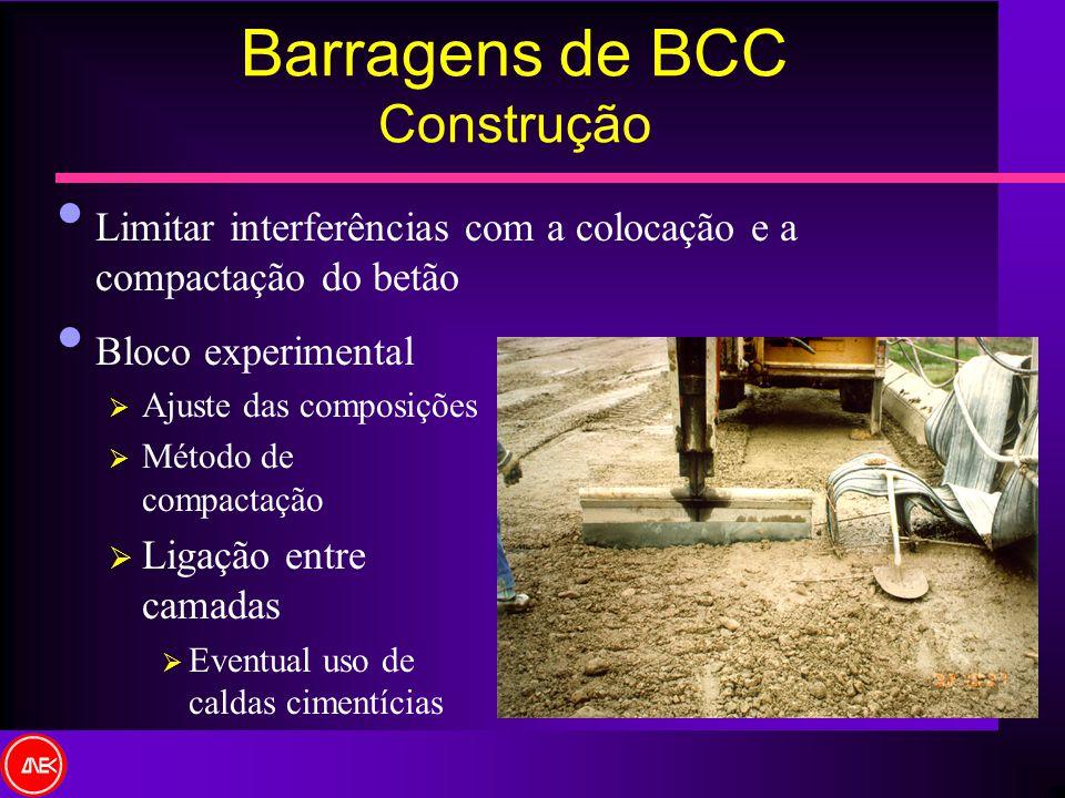 Barragens de BCC Construção Bloco experimental Ajuste das composições Método de compactação Ligação entre camadas Eventual uso de caldas cimentícias L