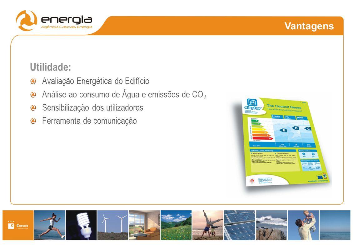 Vantagens Responsabilidade Social e Ambiental Necessidades: Educação ambiental Auditorias Melhorias Utilidade: Avaliação Energética do Edifício Anális