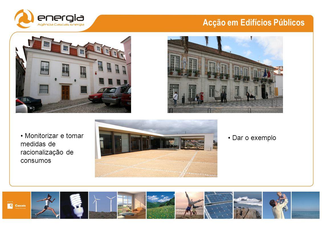 Acção em Edifícios Públicos Monitorizar e tomar medidas de racionalização de consumos Dar o exemplo