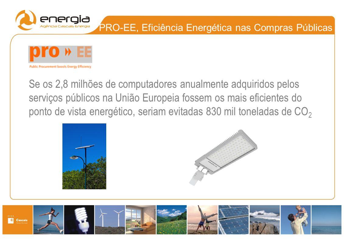 PRO-EE, Eficiência Energética nas Compras Públicas Se os 2,8 milhões de computadores anualmente adquiridos pelos serviços públicos na União Europeia f