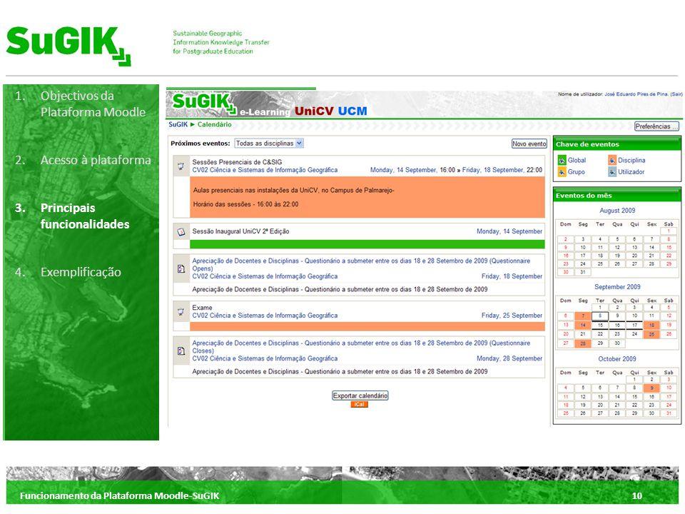Funcionamento da Plataforma Moodle-SuGIK10 1.Objectivos da Plataforma Moodle 2.Acesso à plataforma 3.Principais funcionalidades 4.Exemplificação