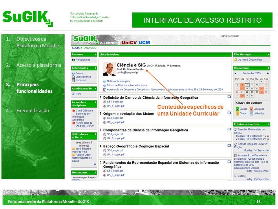 Funcionamento da Plataforma Moodle-SuGIK13 1.Objectivos da Plataforma Moodle 2.Acesso à plataforma 3.Principais funcionalidades 4.Exemplificação INTERFACE DE ACESSO RESTRITO Conteúdos específicos de uma Unidade Curricular