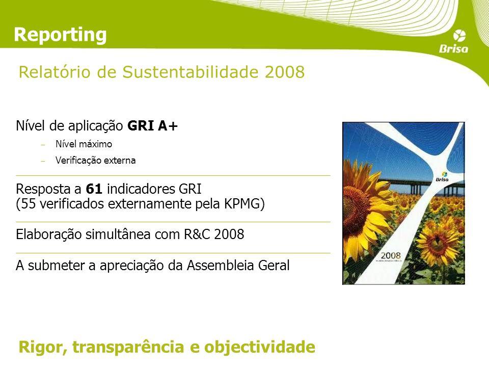 Relatório de Sustentabilidade 2008 Reporting Nível de aplicação GRI A+ Nível máximo Verificação externa Resposta a 61 indicadores GRI (55 verificados externamente pela KPMG) Elaboração simultânea com R&C 2008 A submeter a apreciação da Assembleia Geral Rigor, transparência e objectividade