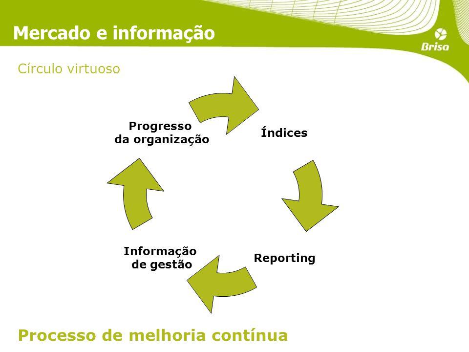 Mercado e informação Processo de melhoria contínua Índices Reporting Informação de gestão Progresso da organização Círculo virtuoso