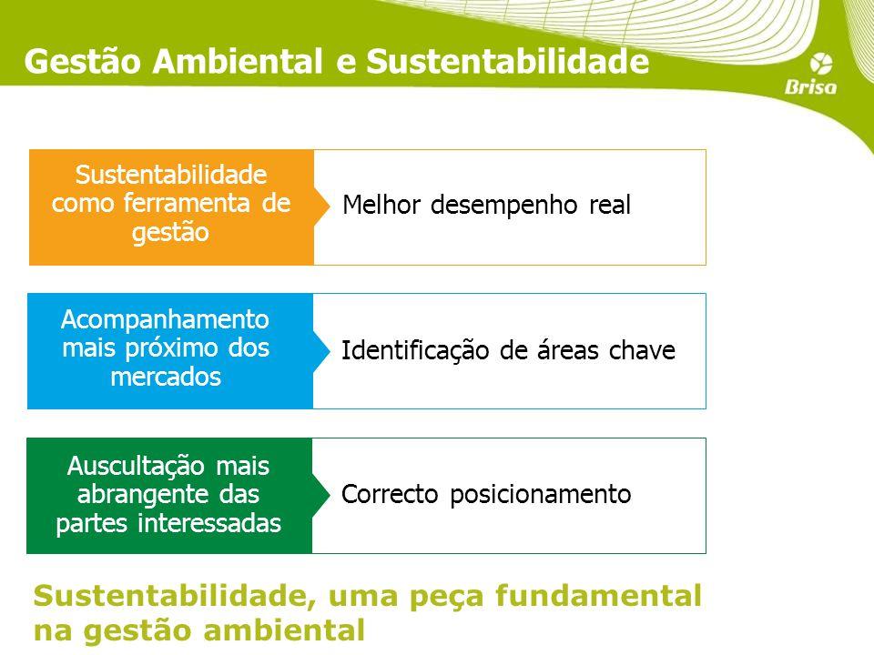 Gestão Ambiental e Sustentabilidade Sustentabilidade, uma peça fundamental na gestão ambiental Auscultação mais abrangente das partes interessadas Acompanhamento mais próximo dos mercados Sustentabilidade como ferramenta de gestão Melhor desempenho real Identificação de áreas chave Correcto posicionamento