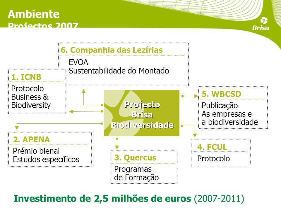 Ambiente Projectos 2007 Investimento de 2,5 milhões de euros (2007-2011) 5.