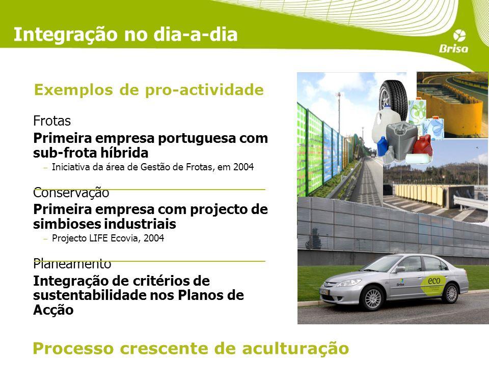 Integração no dia-a-dia Frotas Primeira empresa portuguesa com sub-frota híbrida Iniciativa da área de Gestão de Frotas, em 2004 Conservação Primeira empresa com projecto de simbioses industriais Projecto LIFE Ecovia, 2004 Planeamento Integração de critérios de sustentabilidade nos Planos de Acção Processo crescente de aculturação Exemplos de pro-actividade
