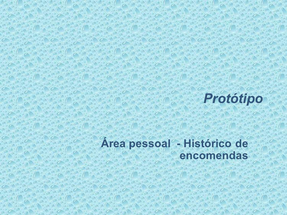 Protótipo Área pessoal - Histórico de encomendas