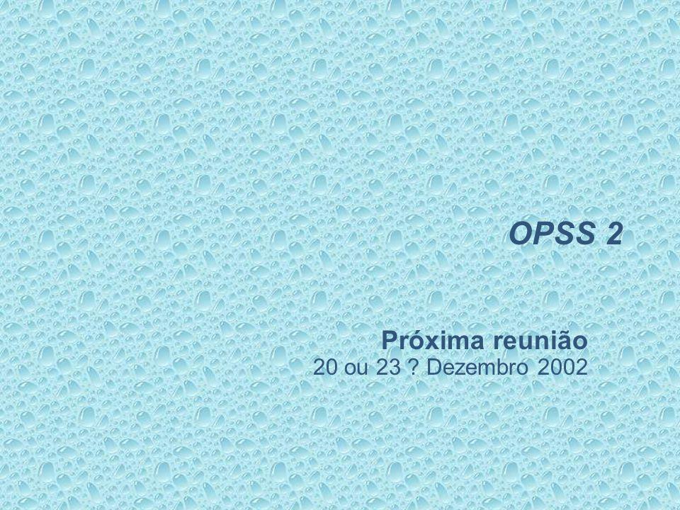 OPSS 2 Próxima reunião 20 ou 23 Dezembro 2002