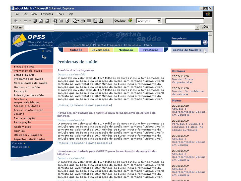 OPSS 2 Próxima reunião 20 ou 23 ? Dezembro 2002