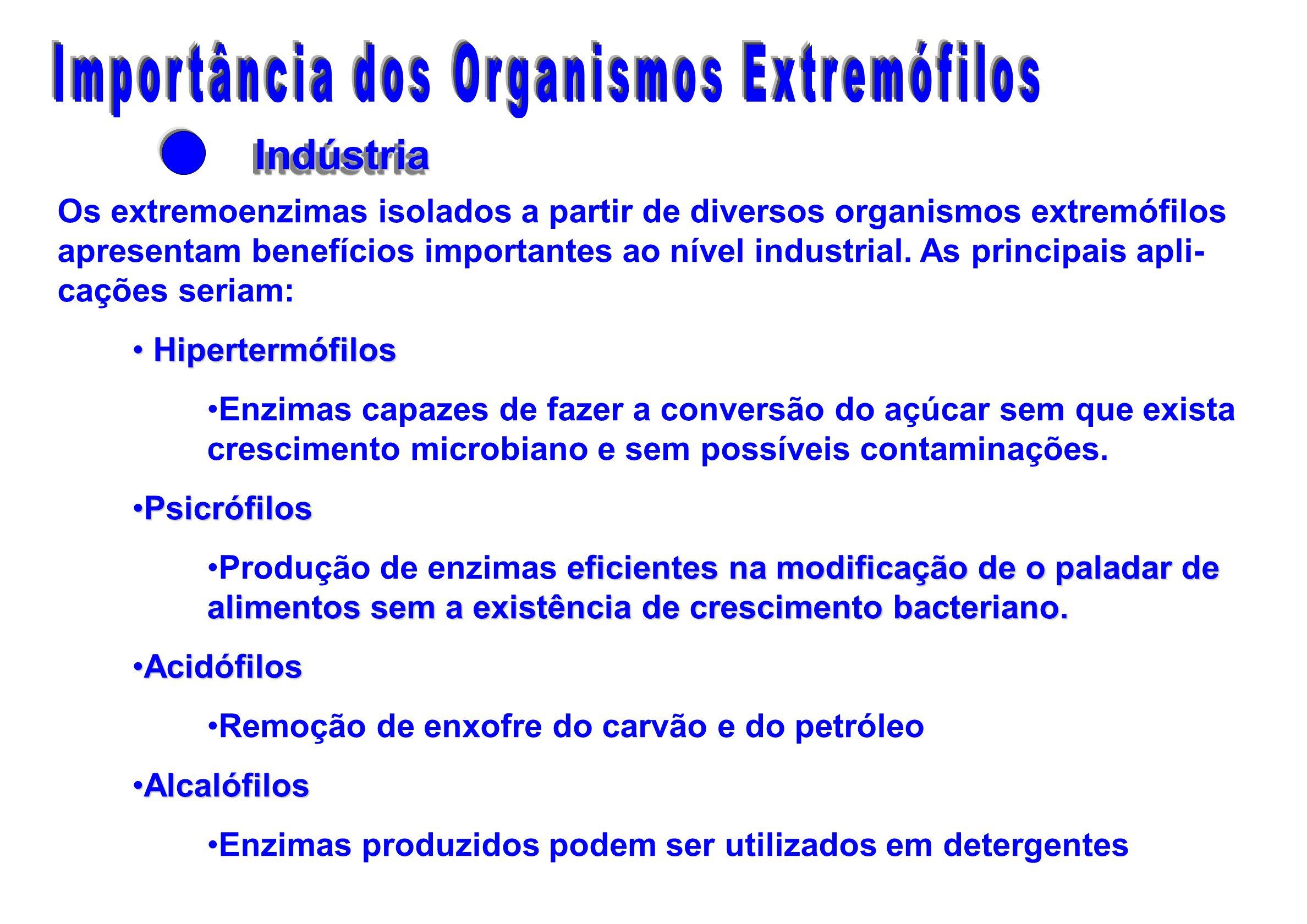 IndústriaIndústria Os extremoenzimas isolados a partir de diversos organismos extremófilos apresentam benefícios importantes ao nível industrial. As p