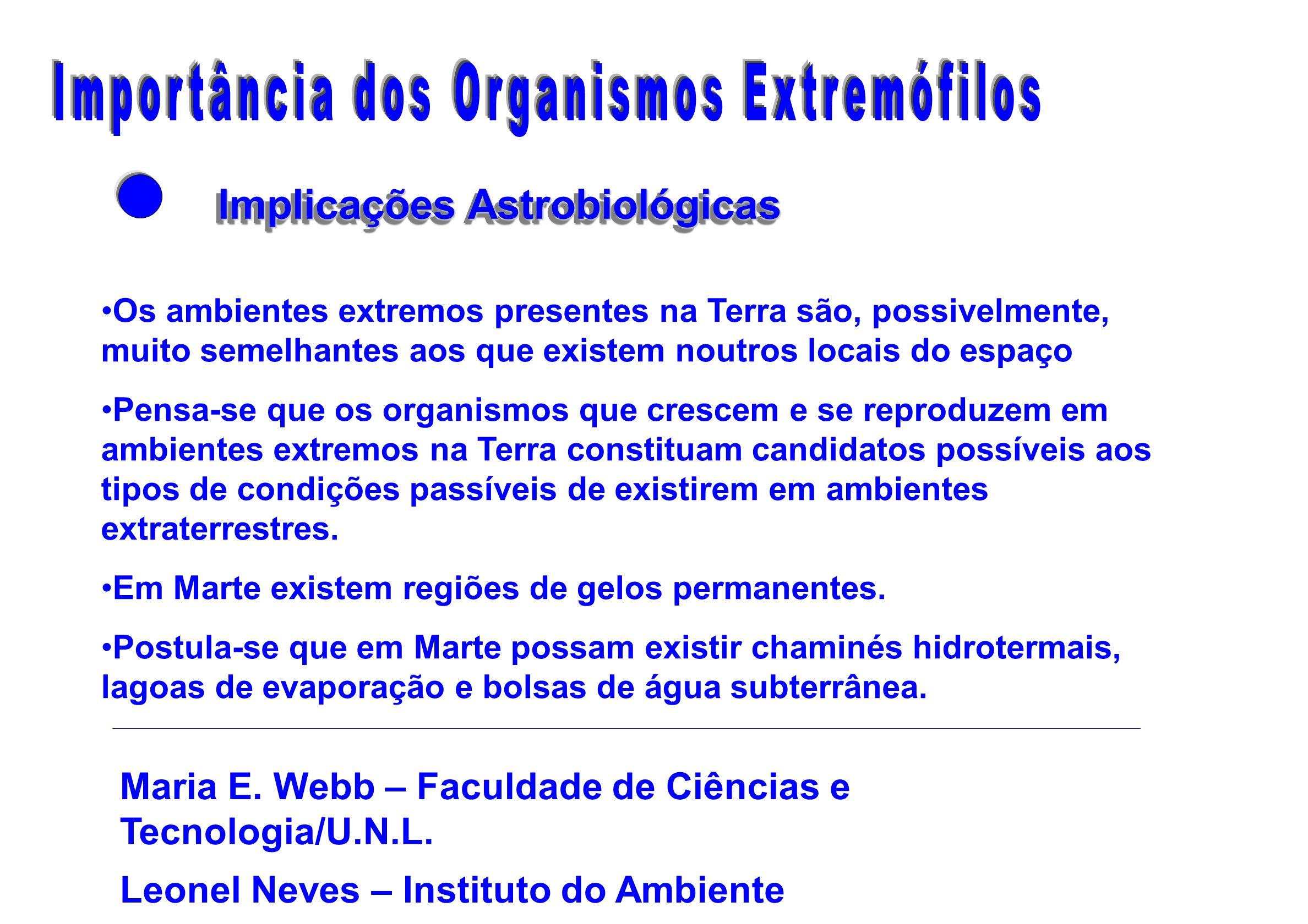 Implicações Astrobiológicas Implicações Astrobiológicas Os ambientes extremos presentes na Terra são, possivelmente, muito semelhantes aos que existem