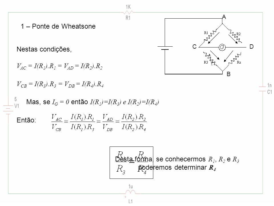 1 – Ponte de Wheatsone Nestas condições, V AC = I(R 1 ).R 1 = V AD = I(R 2 ).R 2 Mas, se I G = 0 então I(R 1 )=I(R 3 ) e I(R 2 )=I(R 4 ) A B CD V CB = I(R 3 ).R 3 = V DB = I(R 4 ).R 4 Então: Desta forma, se conhecermos R 1, R 2 e R 3 poderemos determinar R 4