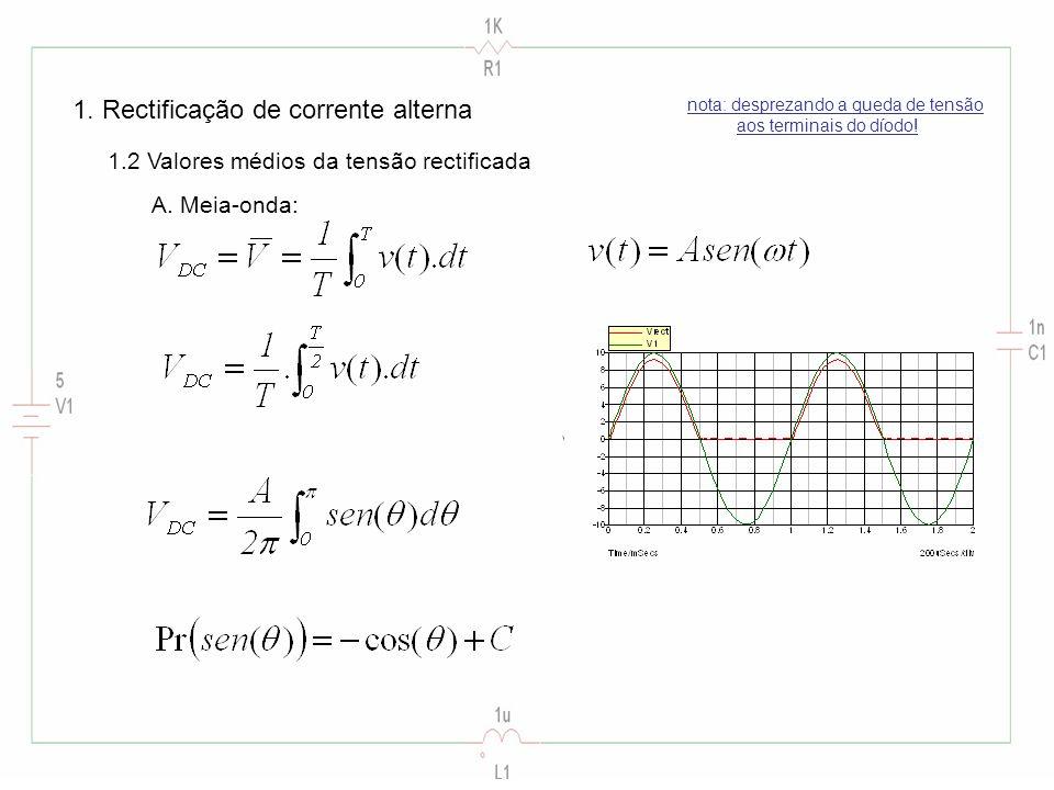 1. Rectificação de corrente alterna 1.2 Valores médios da tensão rectificada A.