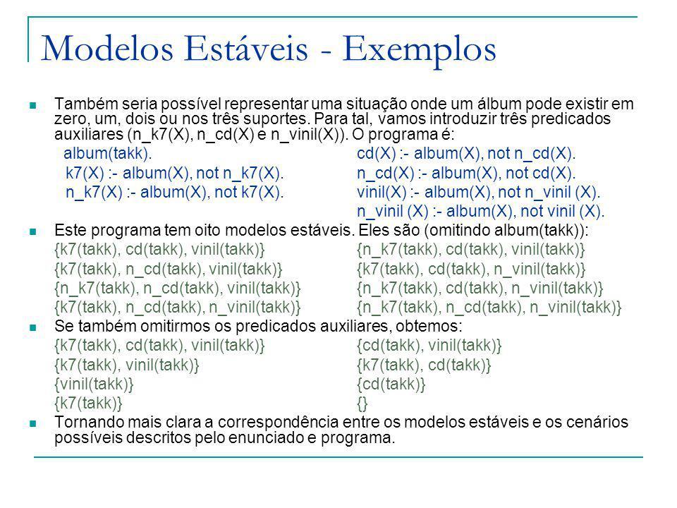Modelos Estáveis - Exemplos Também seria possível representar uma situação onde um álbum pode existir em zero, um, dois ou nos três suportes.