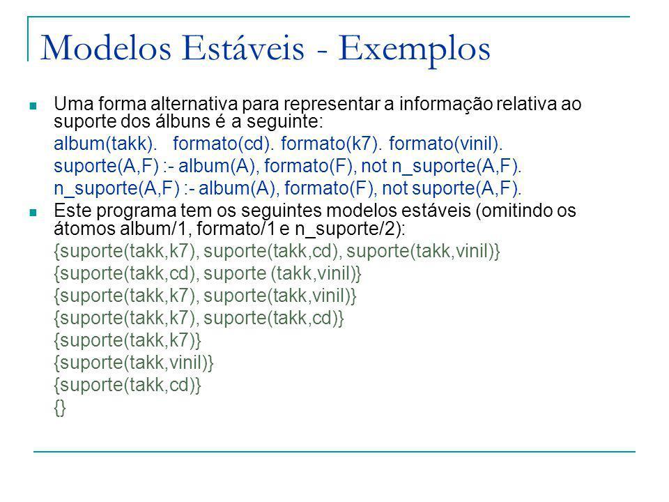Modelos Estáveis - Exemplos Uma forma alternativa para representar a informação relativa ao suporte dos álbuns é a seguinte: album(takk).formato(cd).formato(k7).formato(vinil).