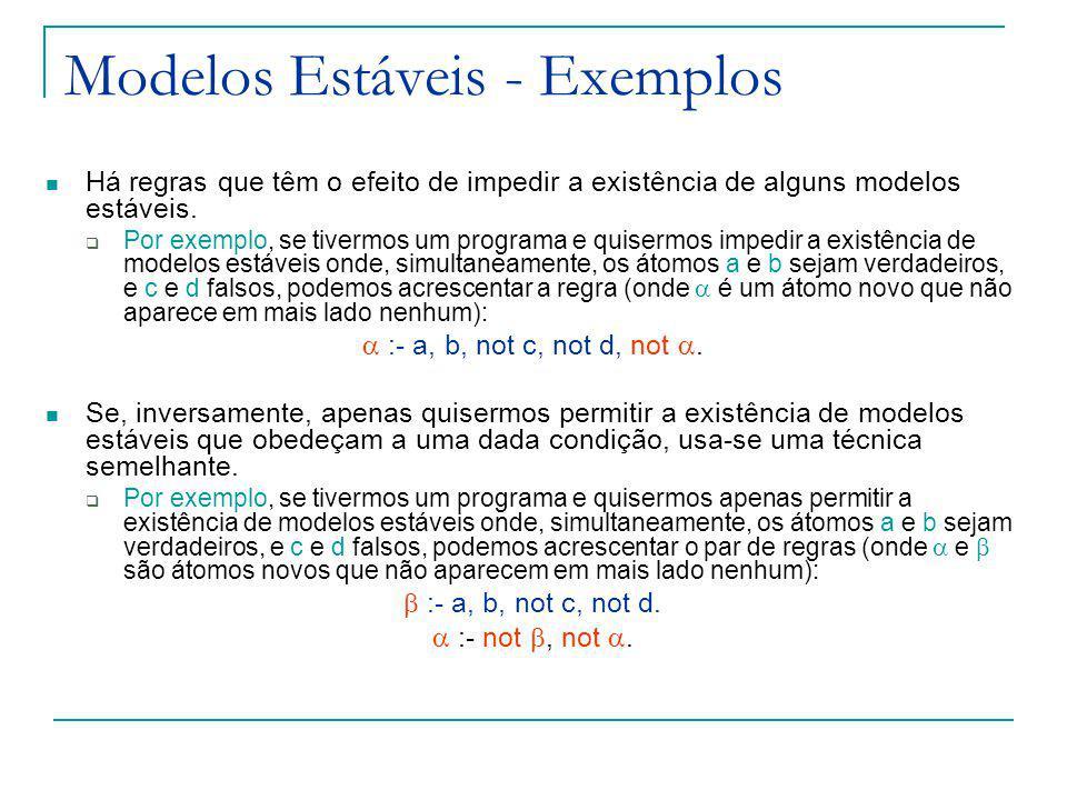 Modelos Estáveis - Exemplos Há regras que têm o efeito de impedir a existência de alguns modelos estáveis.