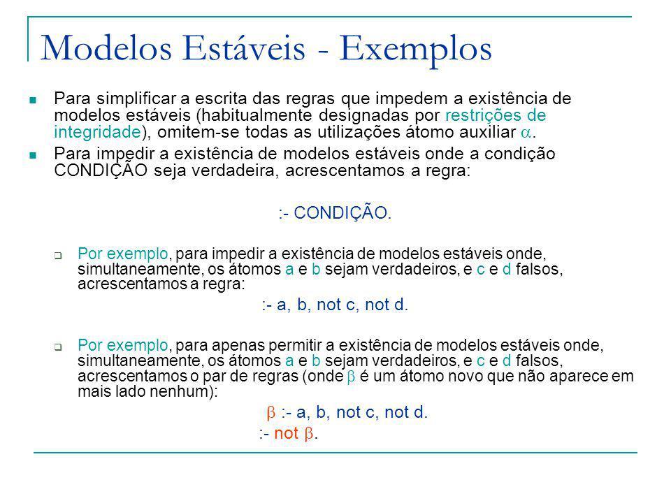 Modelos Estáveis - Exemplos Para simplificar a escrita das regras que impedem a existência de modelos estáveis (habitualmente designadas por restrições de integridade), omitem-se todas as utilizações átomo auxiliar.